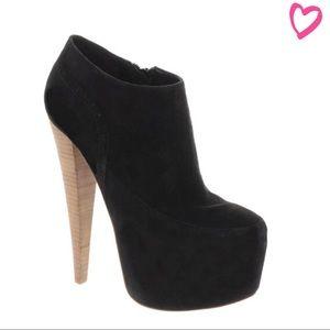Aldo Rise x Preen Black suede & wood ankle booties